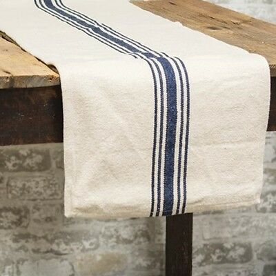 New Farmhouse Vintage Feed NAVY BLUE STRIPED GRAIN SACK Table Runner 56