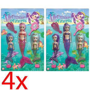 SET OF 12 MERMAID PRINCESS DOLL GIRLS TOY PLAY SET GIFT CHILDRENS SWIMMING NEW