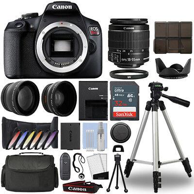 Canon EOS Rebel T7 / 1500D DSLR Camera + 18-55mm 3 Lens Kit+ 32GB Best Value