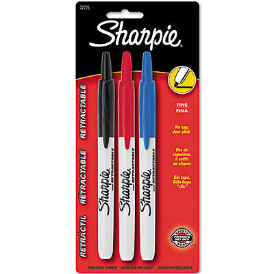 Sharpie Fine Retractable Markers Fine Marker Point Type Assorted Ink 3set