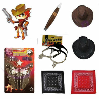 Men's Cowboy Spurs Cigar Bandana Hat Badge Wild West John Wayne Fancy - John Wayne Kostüm