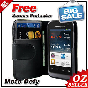 AU Best Wallet Leather Case Cover Black For Motorola Defy MB525 Screen Protector