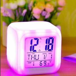 Smart Digital Alarm Clock for Bedroom Students alarm clock& Automatic 7 Color AA
