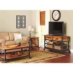 Rustic wrought iron style wood coffee end table tv stand for Wrought iron living room furniture