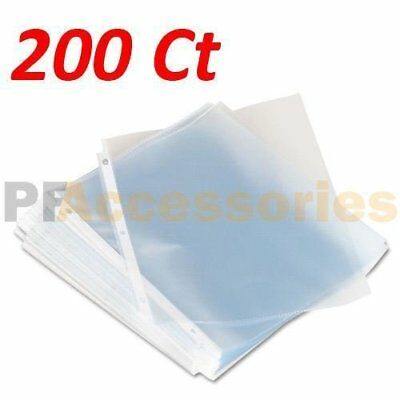 Pack Of 200 Economy Weight Clear Poly Sheet Page Protectors Non-stick 8.5 X 11