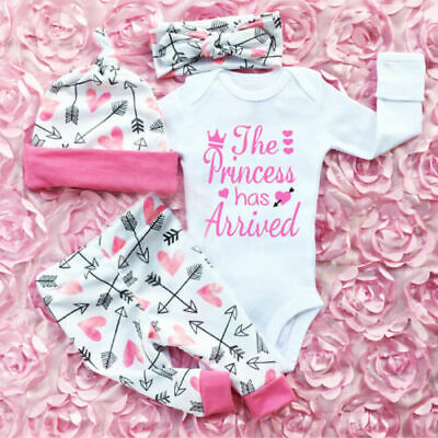 Newborn Infant Baby Girl Romper Jumpsuit Bodysuit Headband Clothes Outfits Sets Baby Girl Bodysuit