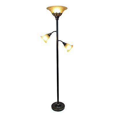 Floor Lamps For Living Room 3 Light Reading Scalloped Glass