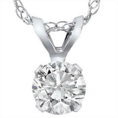 .90 Carat Solitaire Pendant Natural Diamond 14K White Gold Womens Necklace