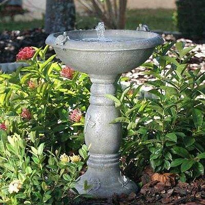 Garden Birdbath Solar Power Fountain Gray Stone Finish Backyard Patio Water Bowl