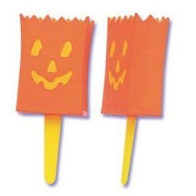 3D Pumpkin Treat Bags - Halloween Luminaries Cupcake Picks - 12 Count  - Halloween Luminaries Bags