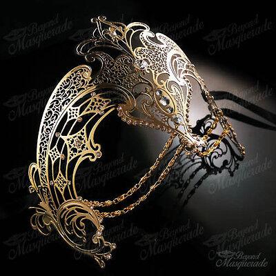 Womens Egyptian Chain Venetiant Filigree Metal Mardi Gras Masquerade Mask [Gold]](Mardi Gra Women)