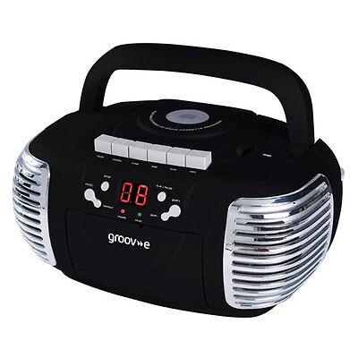 NEW GENUINE GROOV-E RETRO BOOMBOX PORTABLE CD CASSETTE AND RADIO PLAYER - BLACK