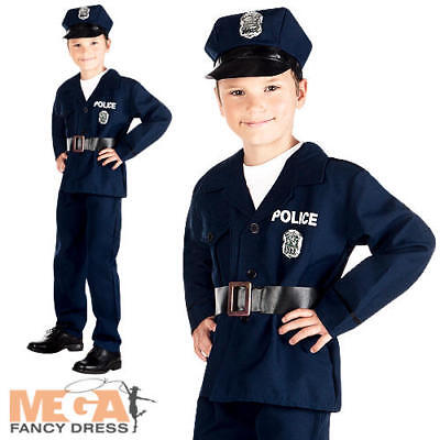 Police Officer + Hat Boys Fancy Dress American Cop Uniform Kids Childs Costume  - Boys Police Hat