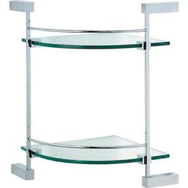 Minimalist double corner glass shelf bathstore