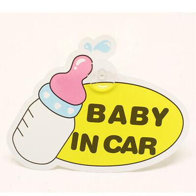 FUN CUTE BOTTLE BABY IN CAR BABY CHILD ON BOARD SIGN CAR WINDOW SIGN - BOY GIRL ()