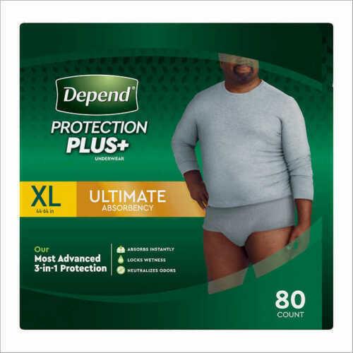Depend FIT-FLEX Underwear for Men Size: XLarge - 80Ct  NEW!!!