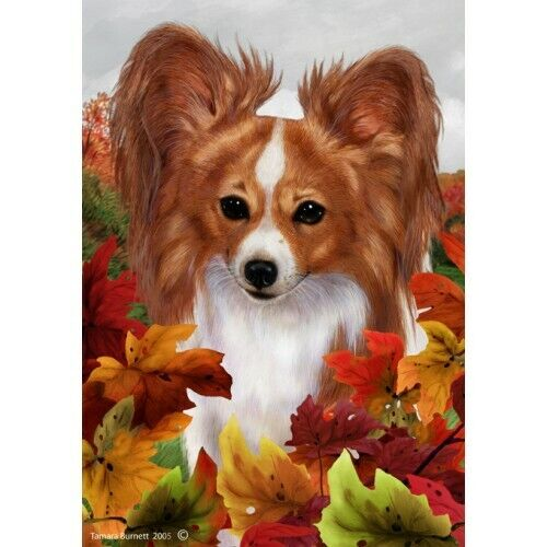 Fall House Flag - Red and White Papillon 13064