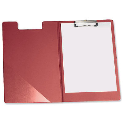 Red Fold Over Clipboard Foolscap Fits A4 Documents With Pen Holder Pocket