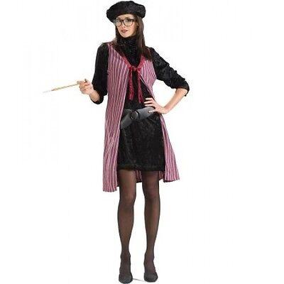 Beatnik Costume Ladies 50's-60's 4 Pc Blk Multi Dress/ Vest Collar Belt & Beret