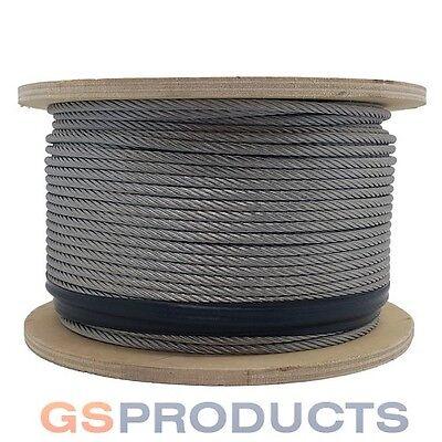 100 Meters - 4mm 6x19 Fibre Core Galvanised Steel Wire Rope - 4-6x19fc Free P+P