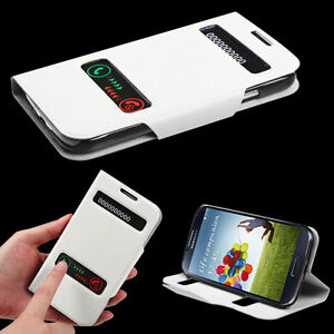 Leather White Flip Cover Case Cell Phone Accessories For Samsung Galaxy S4 i9500