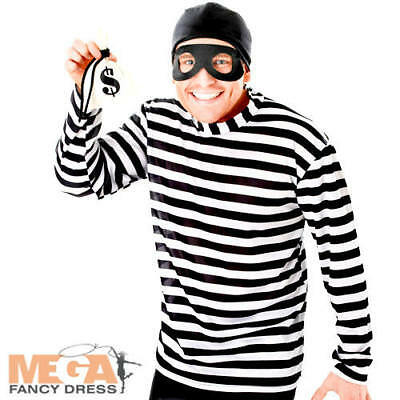Burglar Kit Mens Fancy Dress Convict Robber Adults Halloween Costume Outfit ](Mens Robber Halloween Costume)