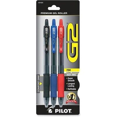 Pilot G2 Gel Ink Roller Ball Pens 3-pack Red Blue Black Ink 31023