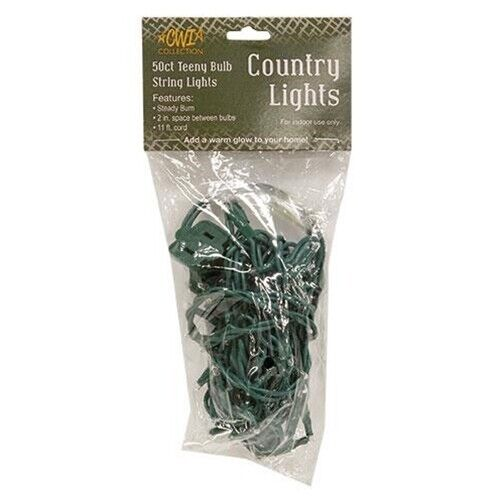 Country Farmhouse Rice Seed Mini Clear White Strand Lights 50 Count Green Cord
