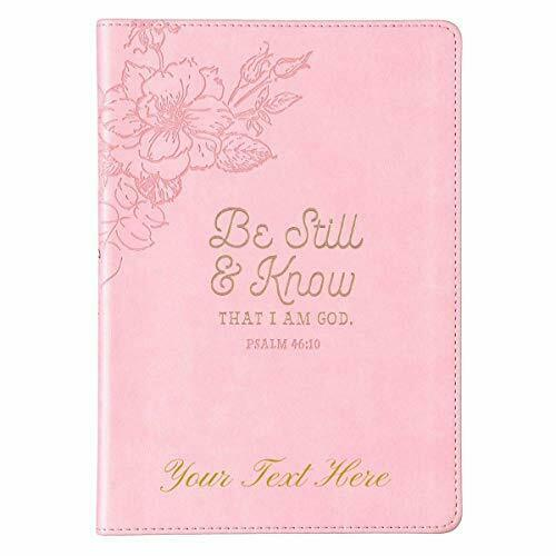 Personalized Journal Be Still & Know Slimline Psalm 46:10 Faux Leather Pink