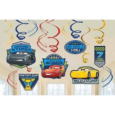 Disney Cars 3 Swirl Decoration Birthday Party Supplies Dangler Pack of 12' - Car Party Decorations