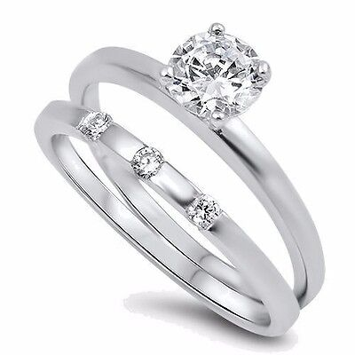 USA Seller Thin Wedding Ring Set Sterling Silver 925 Best Price Jewelry