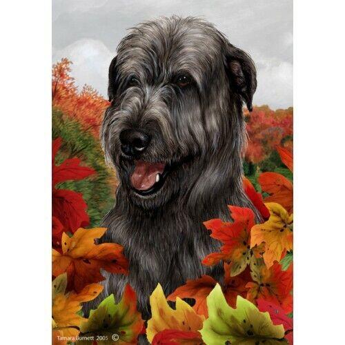 Fall House Flag - Black Irish Wolfhound 13164