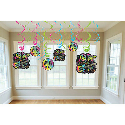 Neon Doodle Party Supplies (NEON DOODLE HANGING SWIRL DECORATIONS (12) ~ Birthday Party Supplies)