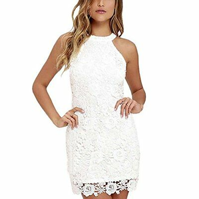 White Dresses For Special Occasions (Womens Halter Lace Dresses for Special Occasions White)