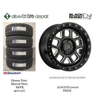 OPEN 7 DAYS LOWEST PRICE Save Up To 10% Black Rhino Alpine Gloss Black With Milled Spokes Rims. Alberta Tire Depot.