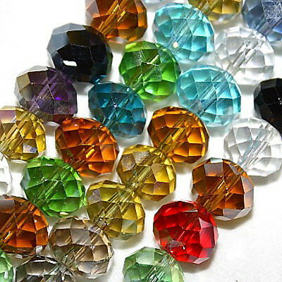 10 Mm Faceted Glass - GLASS BEADS FACETED RONDELLE DISC BEAD 8X10MM 8 COLORS RED CRYSTAL BLUE PINK AB7