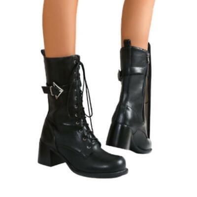 Details about  /Women Ladies Comfort Biker Front Zipper Chunky Low Heel Ankle Boots 46//47//48 D