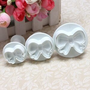 3Pcs Bow Plunger Sugarcraft Cake Cookies Decorating Fondant Icing Cutter Tool #T