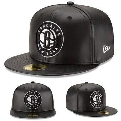 New Era NBA Brooklyn Nets 5950 Fitted Hat Black Team Faux Leather NBA Game Cap Cap New Era 5950 Game