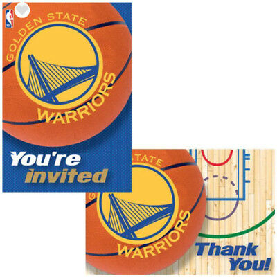 NBA Golden State Warriors INVITATIONS and THANK YOU NOTES ~ Birthday Supplies](Golden Birthday Invitations)