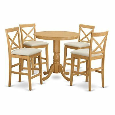 East West Furniture JAPB5-OAK-C 5 Piece Pub Table and 4 Counter Height Stool Set ()