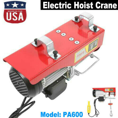 1320 Lb Electric Cable Hoist Crane Lifting Garage Auto Shop Winch W/ Remote 110V