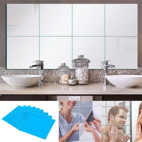 Home Decoration - 32X Mirror Tile Wall Sticker Square Self Adhesive Room Bathroom Decor Stick Art