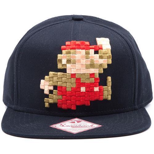 Nintendo: Pixel Mario Verstellbare  Snapback Flacher Schirm Baseball Mütze &