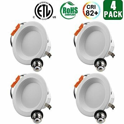 Pack Of 4 Hykolity 4 Led Baffle Trim Downlight Recessed Can Light 3000k Dimmabl