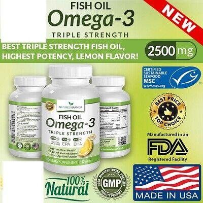 Best Triple Strength Omega 3 Fish Oil Pills 2500mg Highest Potency, Exp. 4/23+