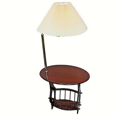 Magazine table in cherry finish with brass arm lamp 52