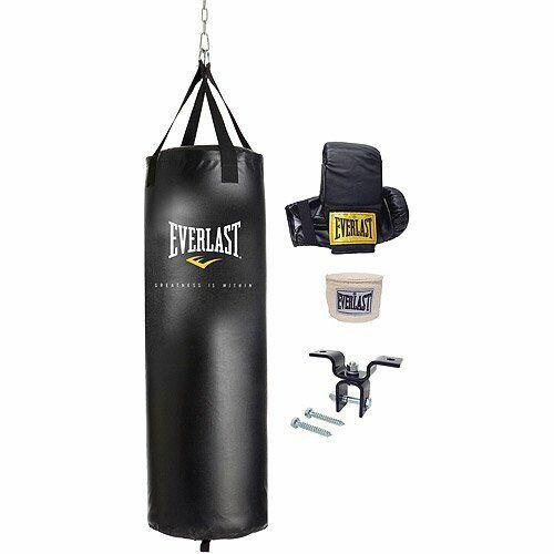 Everlast Heavy Punching Boxing Bag Exercises Kit Workout With Bracket Mount 70lb