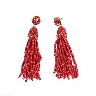 Sexy Sparkles Women's Beaded tassel earrings Long Fringe Drop Earrings Dangle Earrings