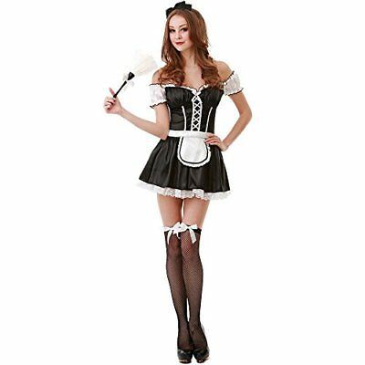 French Maid Women's Halloween Costume Sexy Cleaning Service Maiden Apron & Skirt (French Maid Costume Halloween)